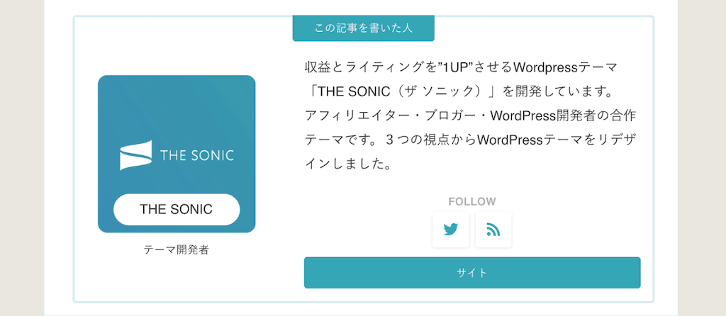 THE SONIC記事を書いた人のデザイン