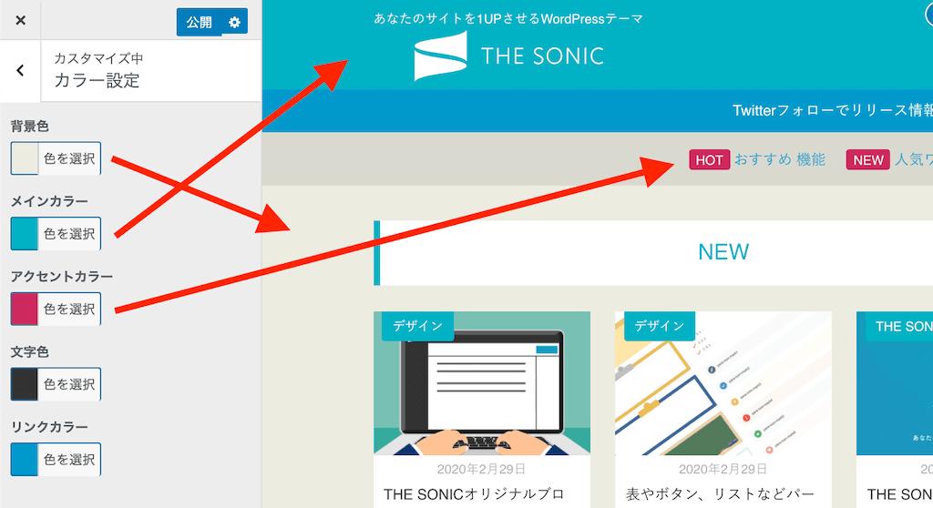 WordPressカラーの設定THE SONIC